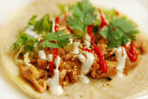 Korean BBQ Tangy Chicken Tacos in soft corn tortillas with asian style ...
