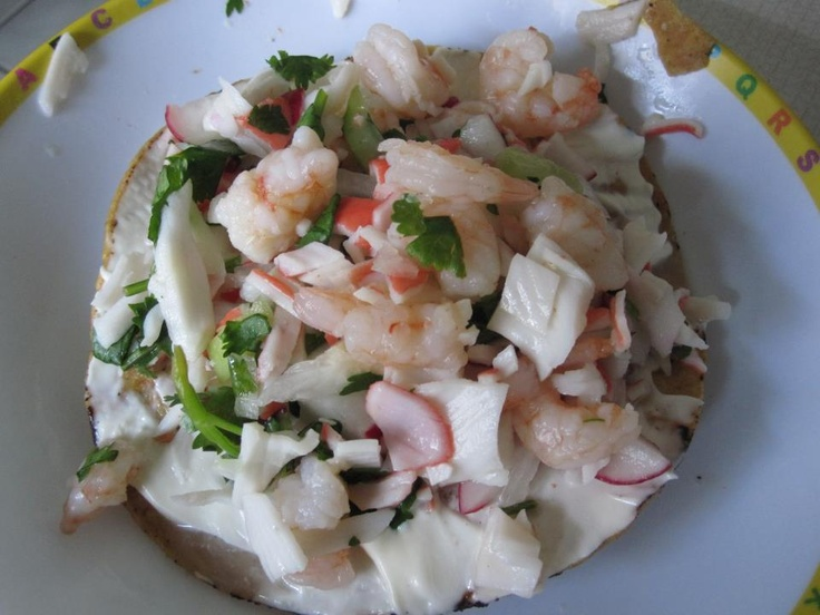 Ceviche Cooked Shrimp,Crab Slices,mayo,tostada :)