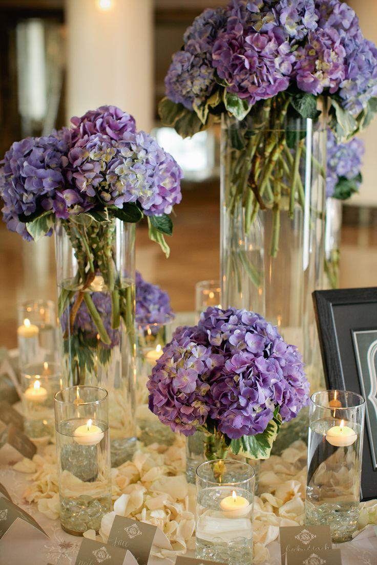 Blue and purple hydrangeas on reception entry table