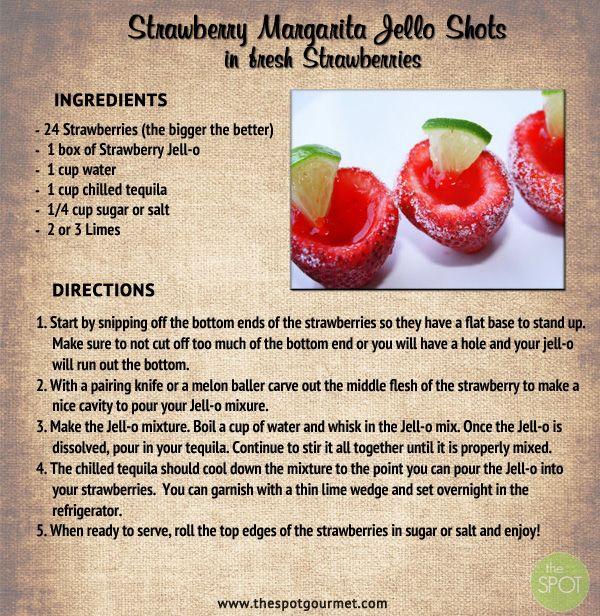 Strawberry Margarita Jello Shots In Fresh Strawberries | Drinks ...