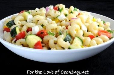 Pasta Salad Tomatoes, Zucchini, and Feta Recipes. #Recipes