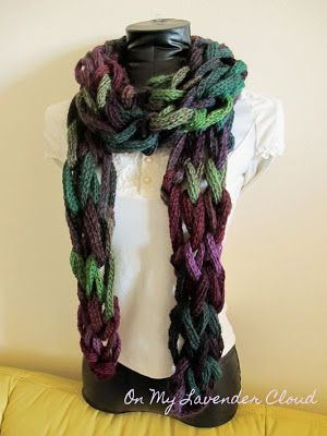 Arm Knitting Scarf variation: tube yarn video tut