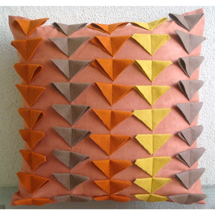 Warm Glow - Throw Pillow Covers - 16x16 Inches Suede Pillow Cover with Felt Triangles. $25.50, via Etsy.