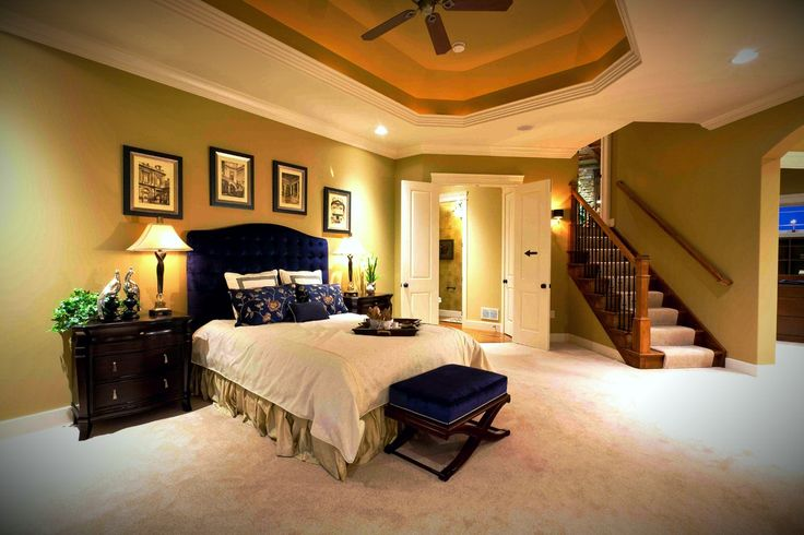 Master Bedroom Suite Beautiful Ceilings And Private Stairwell To