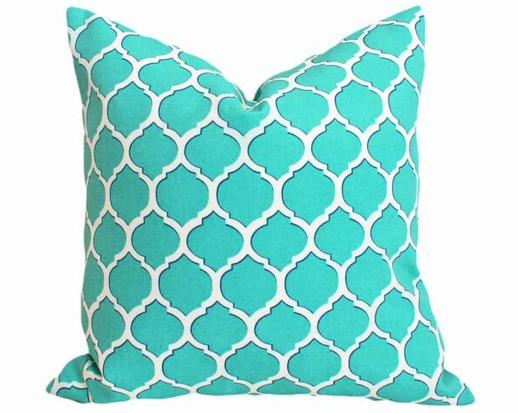 Turquoise Blue Patio Pillow, Geometric, Outdoor, Outside Pillows, Decorative Cushion Covers ...