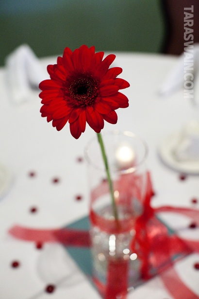 Simple single flower centerpiece retirement party ideas