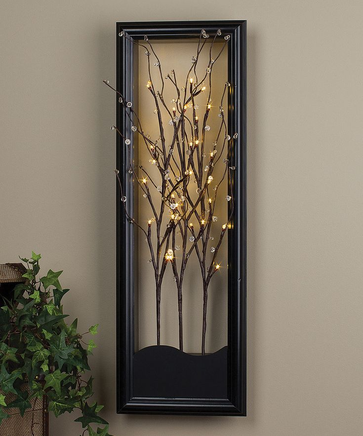 light up willow branch wall art for the home pinterest. Black Bedroom Furniture Sets. Home Design Ideas