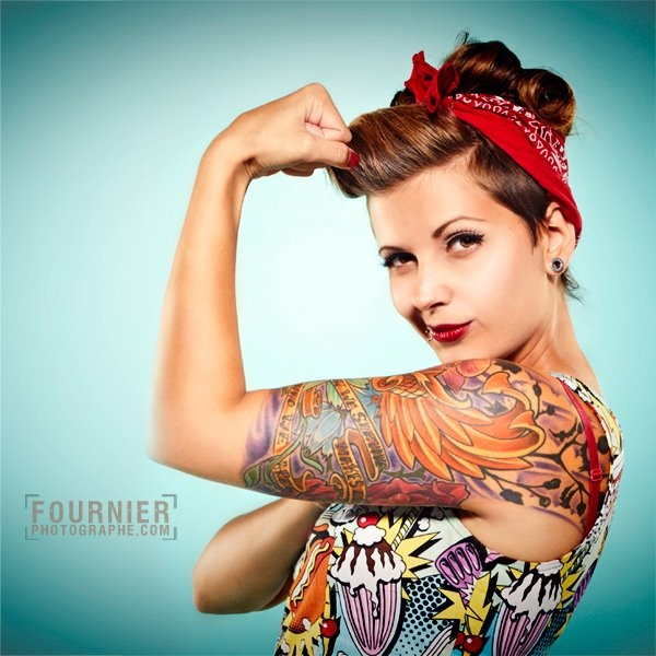 semi mohawk hairstyle : Modern take on Rosie the Riveter. A girl should be two things: who ...