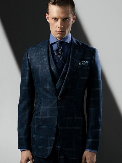 Navy check suit tailoring pinterest for Navy suit checkered shirt