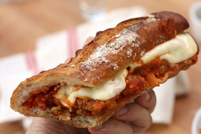 meatball sub - how yummy does this bread look?