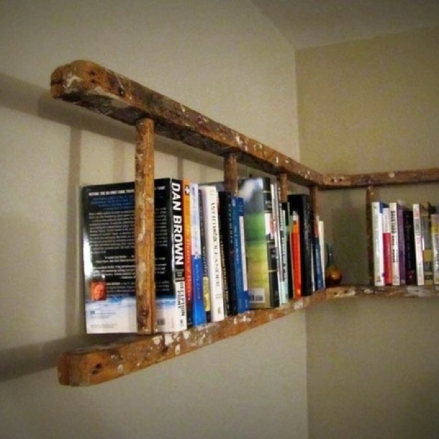wooden ladder to a bookshelf for the home
