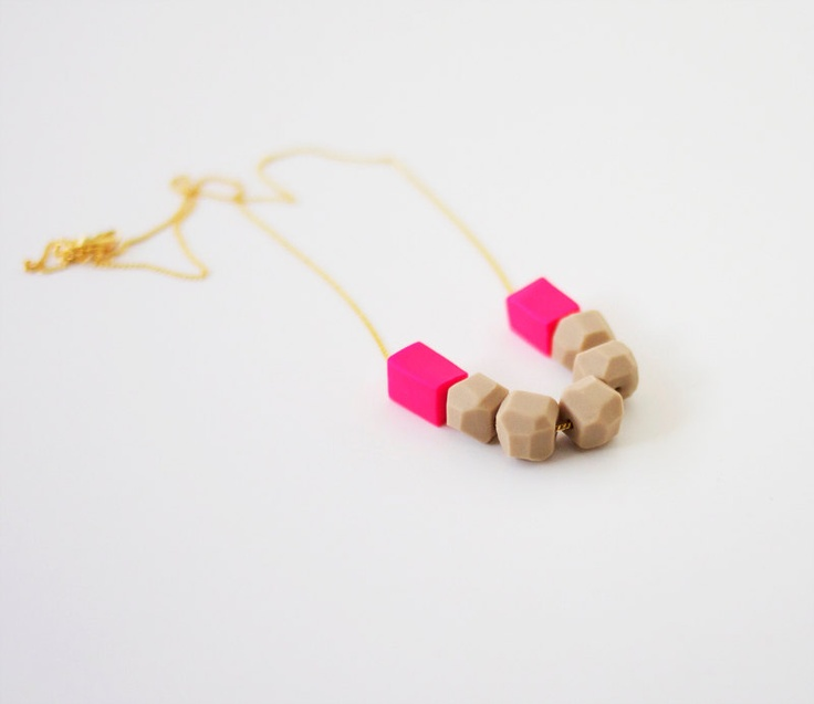 neon pink mixed bead necklace - A Merry Mishap