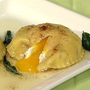 Mario Batali's Fresh Ricotta and Egg Ravioli with Brown Butter