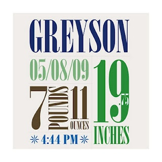 cute idea for displaying birth info on baby wall. I love the name Greyson, but could never name a kid that :(