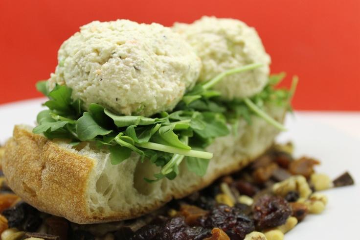 Day 9 - Nikki's creamy tofu salad and arugula on ciabatta bread on a ...