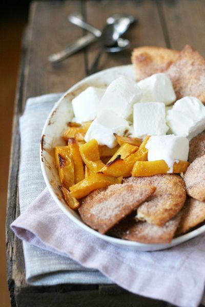 Baked mangoes with cinnamon sugar tortillas and served with ice cream ...