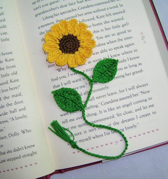 Handmade  Crocheted   Sunflower    bookmark,boomarks