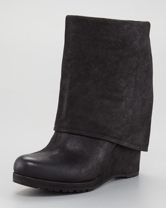 Suede Fold-Over Wedge Bootie by Prada | Bless my sole! | Pinterest
