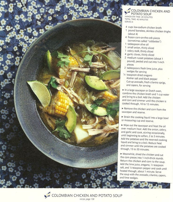 Colombian Chicken and Potato Soup - from January 2011 Real Simple ...