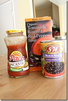 """... & Roasted Red Pepper Soup """"souped"""" up with salsa and black beans"""