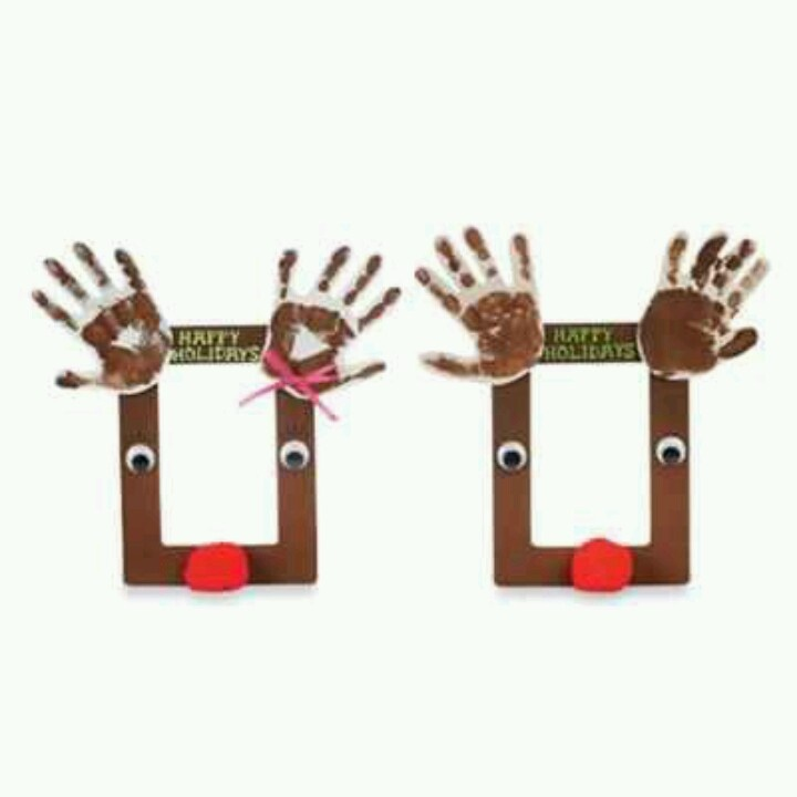 cute reindeer handprint christmas frame diy crafts