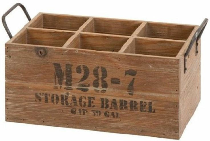 Rustic vintage wooden 6 bottle wine crate wedding home for Small wine crates