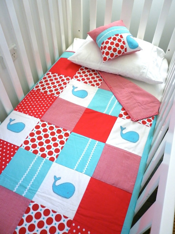 beats by dr. dre wireless black Whale Baby Quilt and Cushion in red white and aquamarine blueMade to