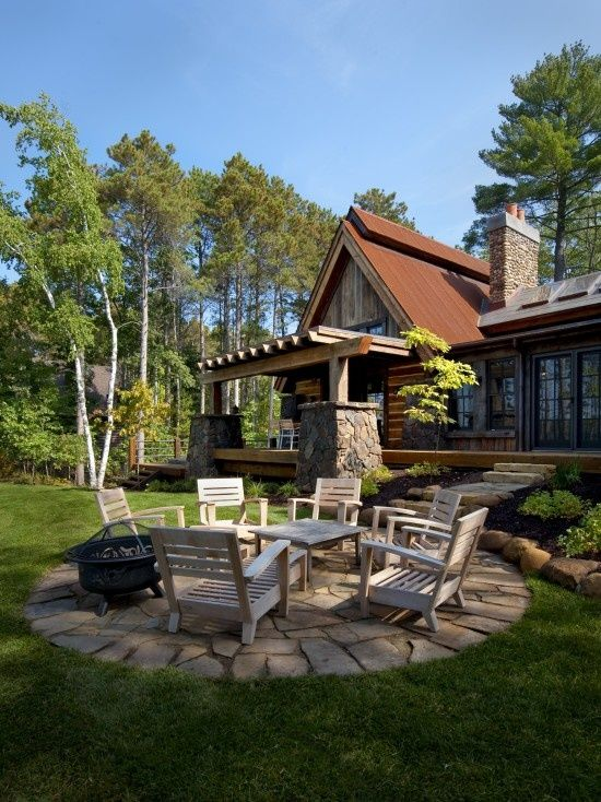 lake cottage outdoor sitting area ideas flagstone patio sitting area
