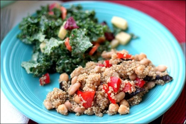 Roasted eggplant & red pepper quinoa and apple kale salad with cashew ...