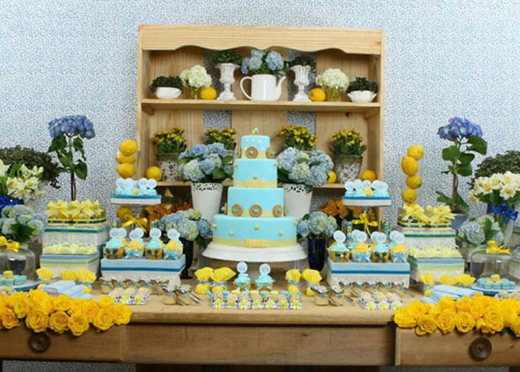 blue and yellow baby shower baby shower inspirations pinterest