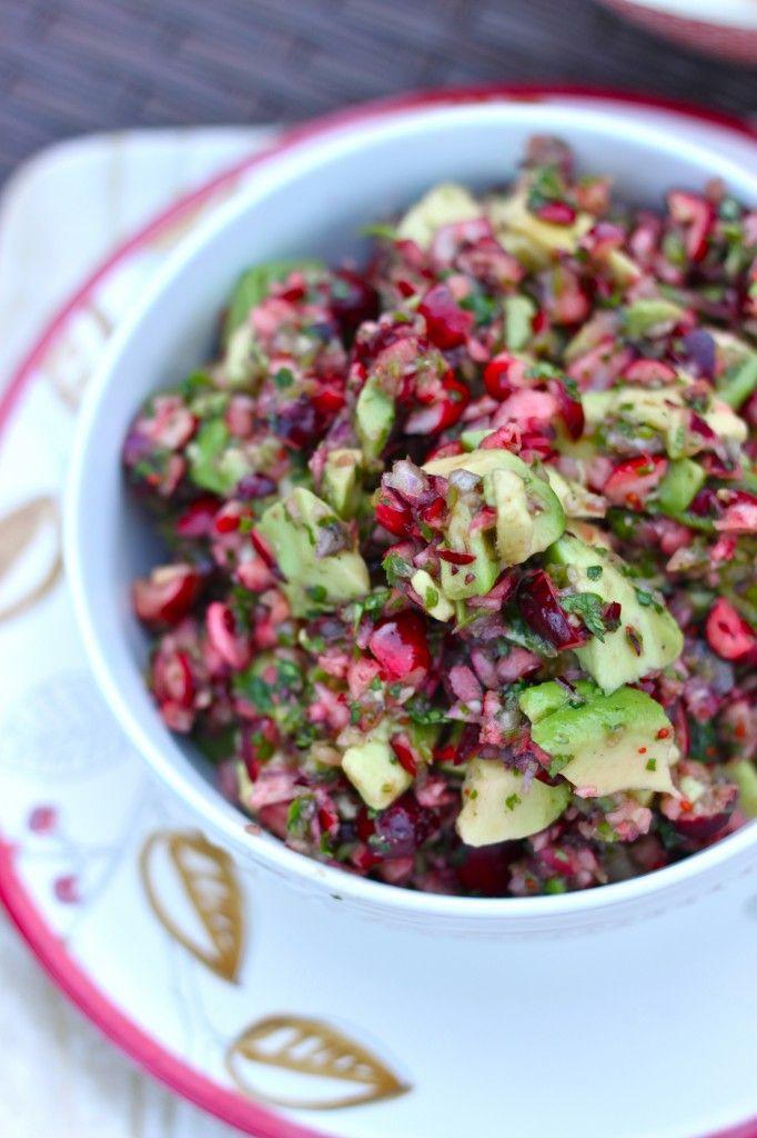 Cranberry Avocado Dip (Salsa). Vegan, sub agave for honey