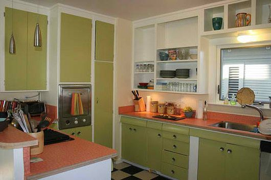 green and orange retro style kitchen  Kitchen Makeovers  Pinterest