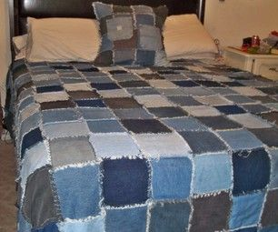 Denim Rag Quilt - A different style than what I did the first time but ...