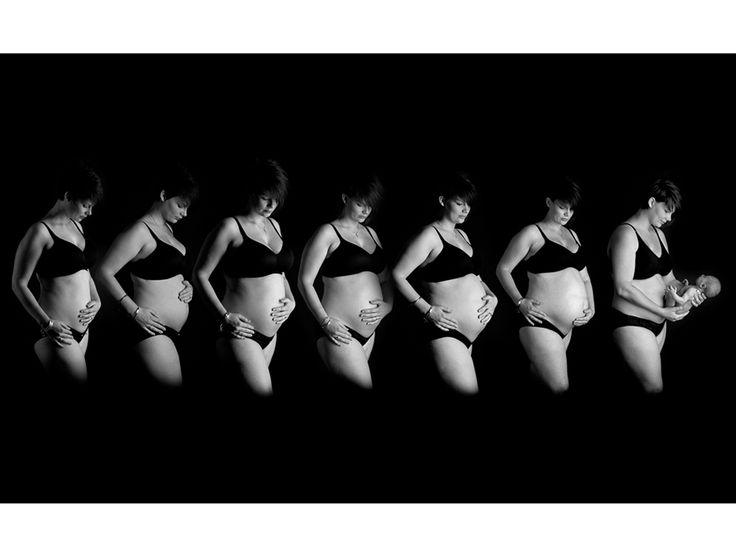 Secuencia embarazo en blanco y negro