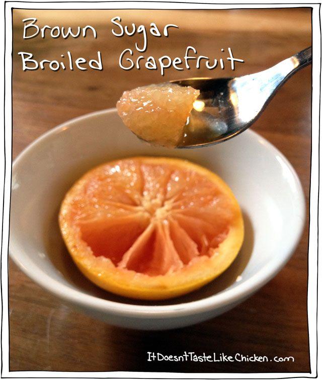 Brown Sugar Broiled Grapefruit. Vegan, vegetarian, yummy breakfast ...