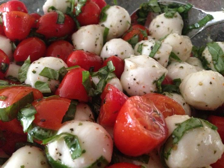 Simple Organic Caprese Salad: Sugar Plum tomatoes, fresh baby ...