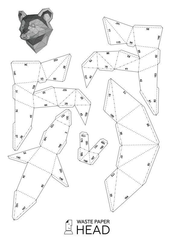 Объемные фигуры зверей из бумаги схемы шаблоны