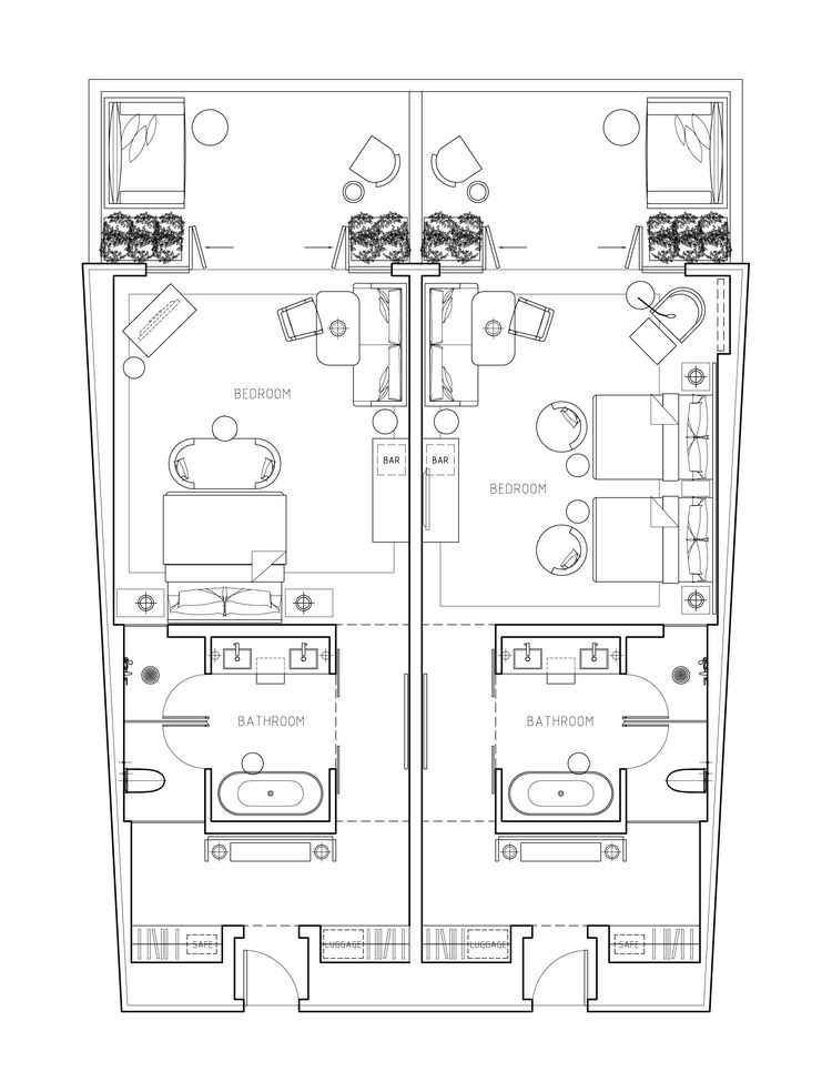 Hotels architects and hotel floor plan on pinterest for Room design 2d