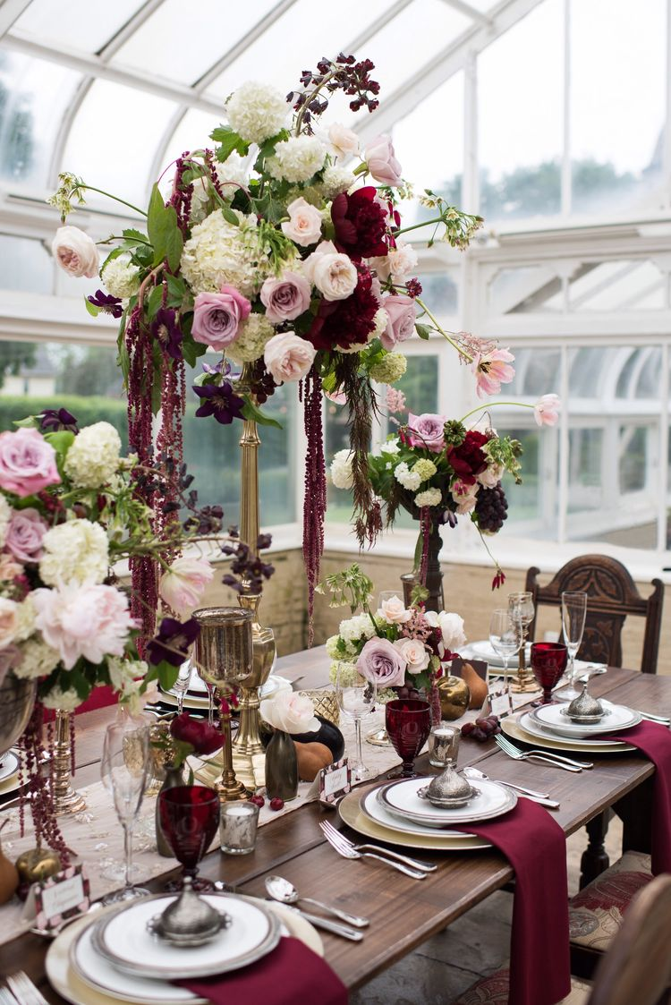 Pink and maroon wedding decor  Adrienne Acosta aacosta on Pinterest