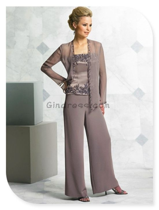 Mother of the Bride Pant Suits Fashion with jacket Evening Dresses ...