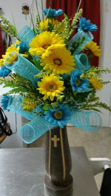 Spring Flowers Arrangement For A Cemetery Vase My Creations