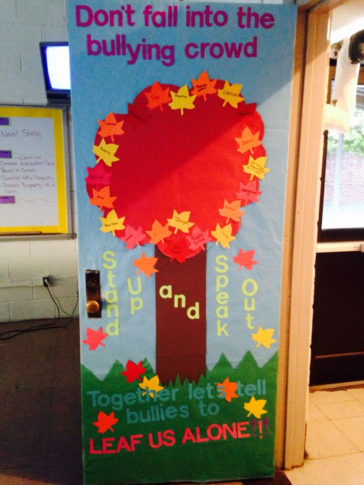 Olweus bullying program kick off with door decorating for Ways to decorate a bulletin board
