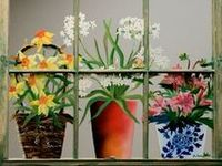 Various ideas for painting on old windows.  Love it, so creative