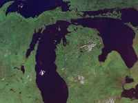 """Michigan is from an Algonquian Chippewa Indian word """"meicigama"""" that means """"big sea water"""" (referring to the Great Lakes). State  Motto - """"Si quaeris peninsulam amoenam, circum spice"""" Area - Michigan includes 56,954 square miles of land area; 1,194 square miles of inland waters; and 38,575 square miles of Great Lakes water area. , the 11th largest state. it has more than 11,000 inland lakes and more than 36,000 miles of streams,56,954 square miles,land area,38575 square miles Lakes."""