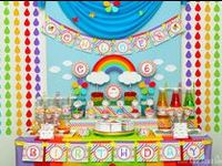 Rainbow party ideas for birthdays  --  Rainbow cakes, decorations, party foods and favors. See more party ideas at CatchMyParty.com.