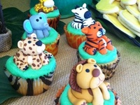 Jungle and Safari party ideas for birthdays and baby showers --  cakes, decorations, party foods and favors. See more party ideas at CatchMyParty.com.