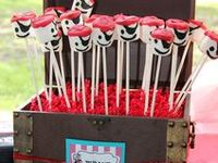 Pirate party ideas for boy birthdays  --  pirate cakes, decorations, party foods and favors. See more party ideas at CatchMyParty.com.
