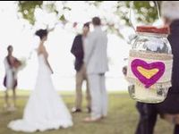 Mason jar wedding decor ideas. Use glass jars with wedding flower arrangements, desserts, drinks, candles, and so much more.