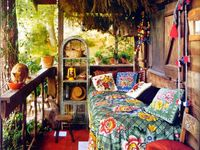 Earthships, handmade homes, green and renewable, all that jazz - and the requisite tie dye and boho.