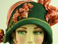 1800-1960 hats, bonnets, night caps, headdresses, hair combs, hat pins, aigrettes, fancy barrettes, hoods, turbans, caps, bands, snoods, and other head wear and hair ornaments.